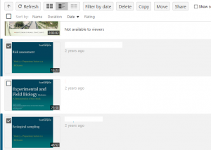 There sessions are visible on Panopto. The first and third are ticked. Most infomration is blurred out.