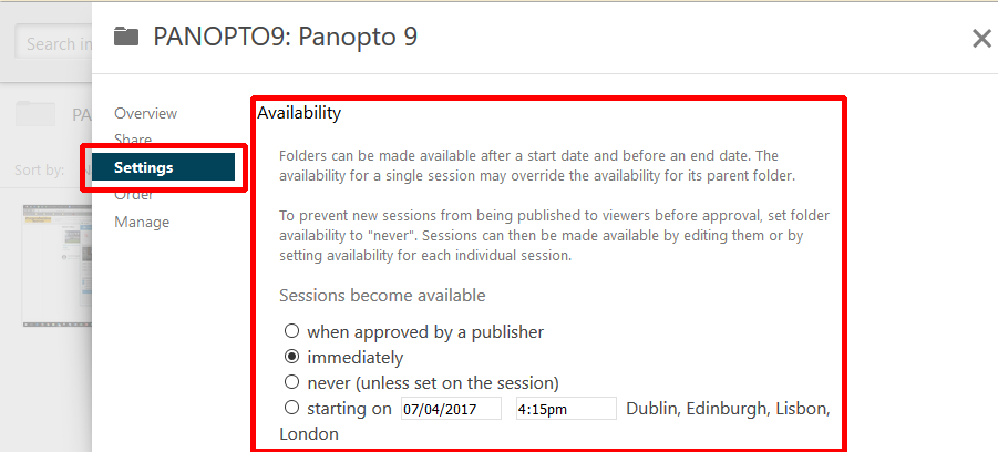 Panopto settings menu. Settings is highlighted and selected on the left. The right side of the image is highlighted, the heading of the highlighted setting says availability
