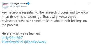 Tweet from @SpringerNature about reviewer feelings on peer reviewhttps://twitter.com/SpringerNature/status/1173604991153692679