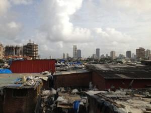 Looking over the top of Dharavi slum, Mumbai.