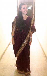 Dressed up in a sari for the farewell event at the British Council, Delhi - after I'd performed in a Bollywood dance!