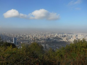 View at the top of Cerro San Cristobal looking down on the expansive Santiago