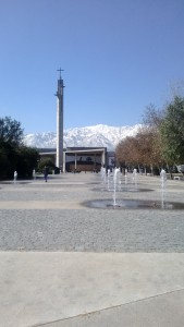 Beautiful chapel in the campus centre with water features and Andes in the background. This was taken in Winter!