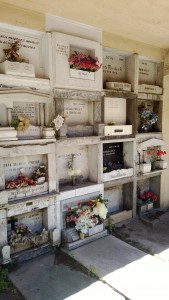 'Nichos' Alcoves in the wall to bury the dead. Yes I visited a cemetery but death is treated as a celebration here. Well worth the visit.